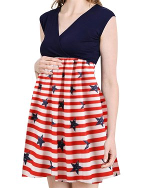 fe317a28239ed Product Image Jchiup Women Independence Day Stripes Star Flag Printing  Maternity Swing Dress