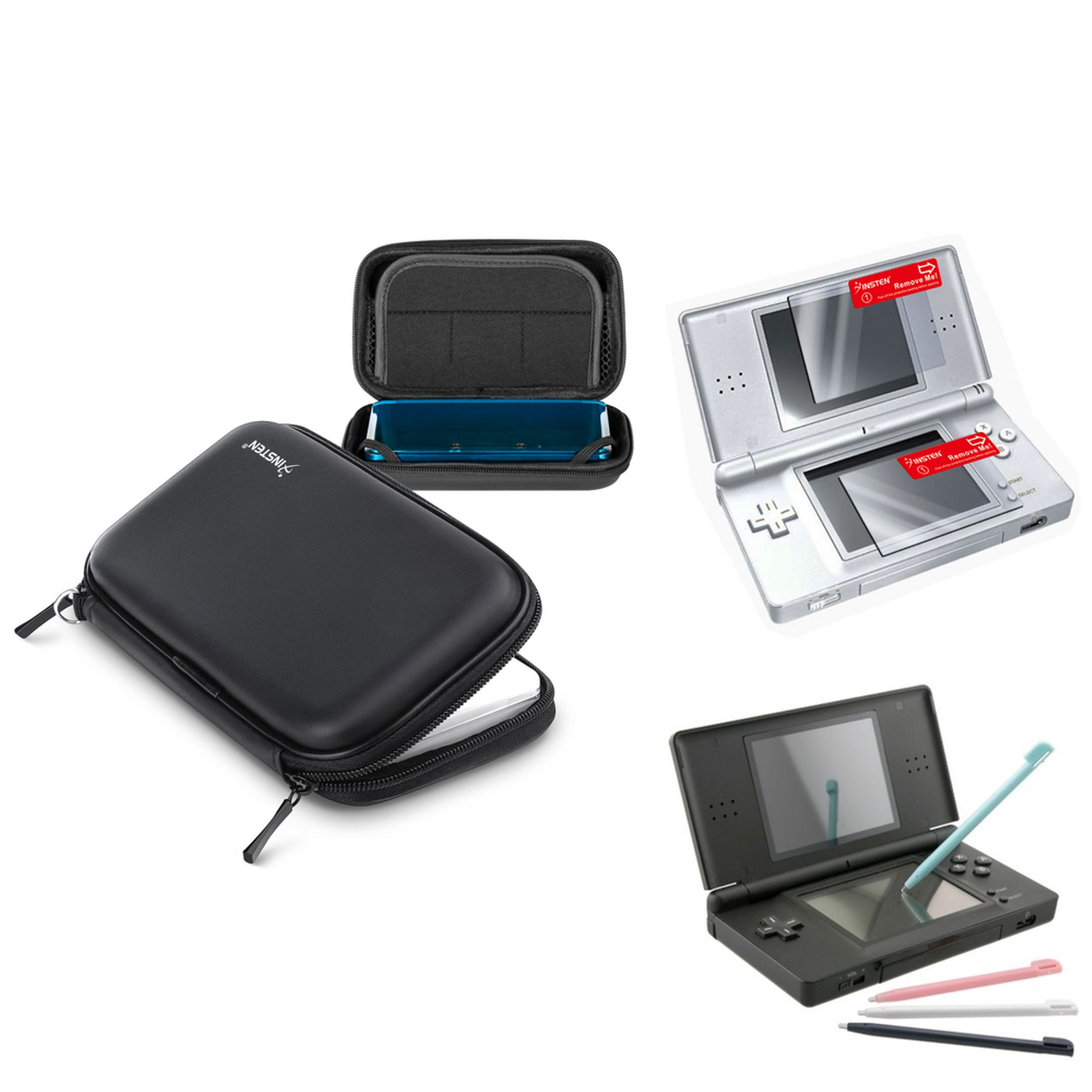 Insten Nintendo DS Lite Black EVA Case + 4 Color Stylus +2 -LCD Screen Protector