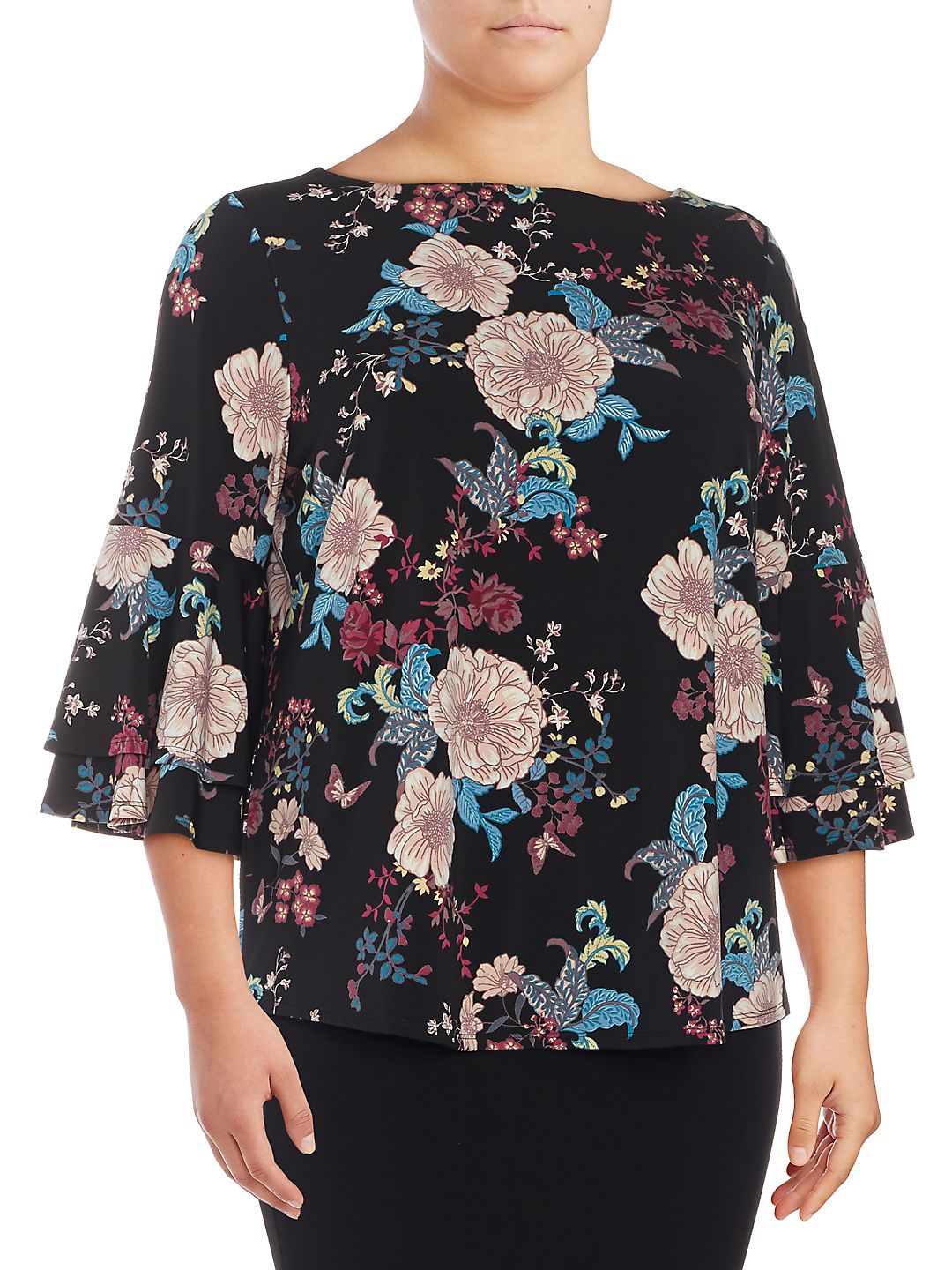 Plus Floral-Print Bell-Sleeve Blouse