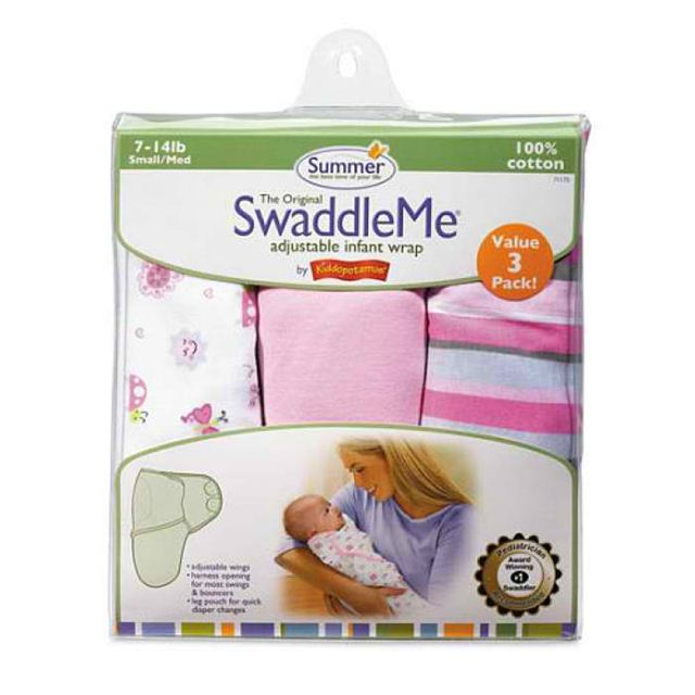Summer Infant Swaddleme 3 Piece Adjustable Infant Wrap, 7-14 Lbs, Small-Medium, Girly Bug, (Discont
