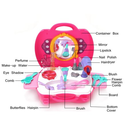 Girls Toy toysforgirl Vanity Beauty Cosmetic Bag Carry Case Hair Dryer Make Up Set Pink - image 3 of 8