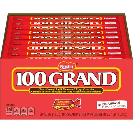 100 GRAND Chocolate Candy Bar, 1.5 Oz, 36 Ct