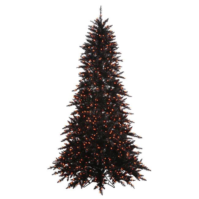 3' Pre-Lit Black Fir Artificial Halloween Christmas Tree - Orange Lights