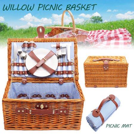 4 Person Wicker Picnic Basket Hamper Set Flatware Plates Wine Glasses Blanket wallets.bags Christmas Outdoor Lunch (Christmas Flatware)