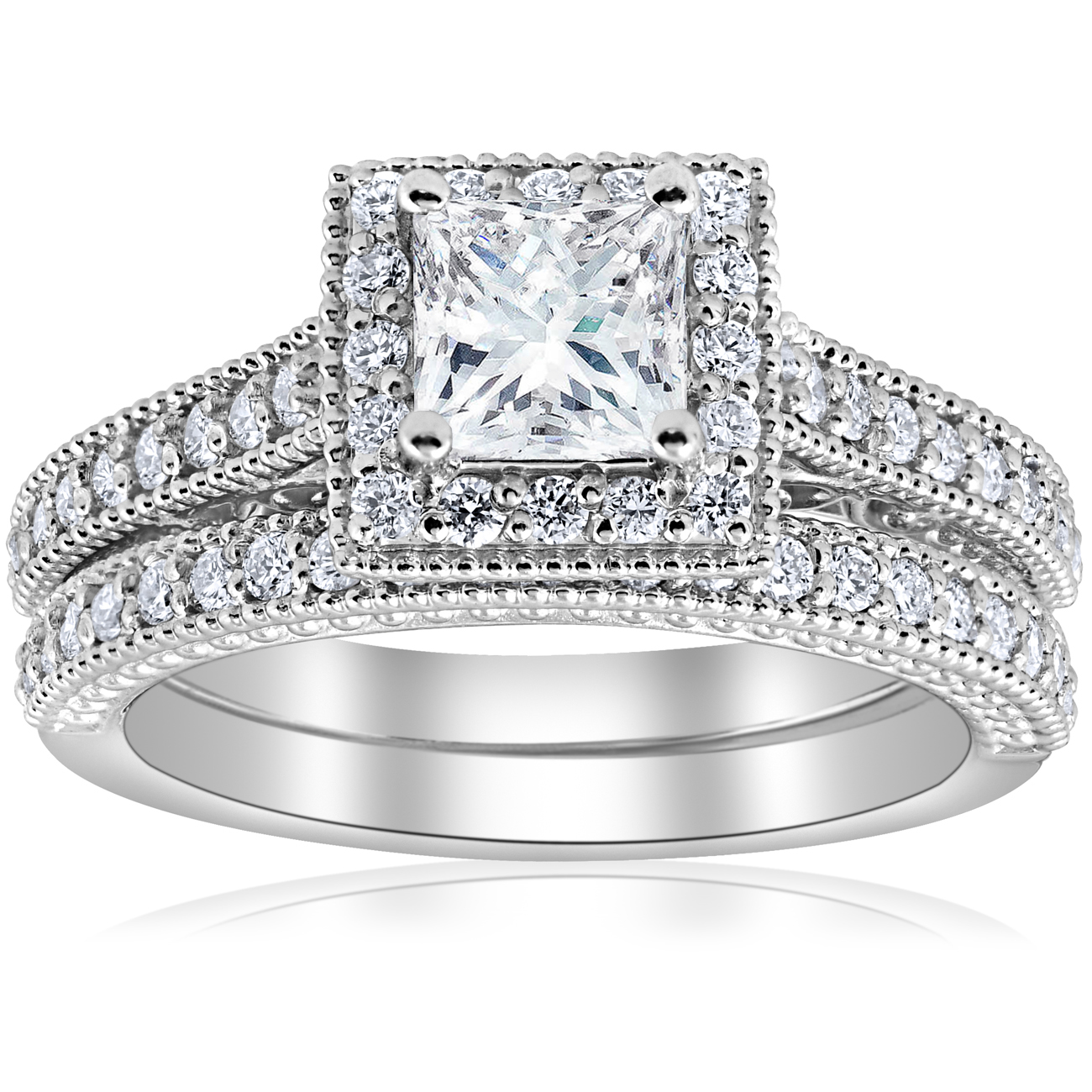E VS 1 1/2ct GIA Certified Princess Cut Halo Vintage Diamond Engagement Ring 14k