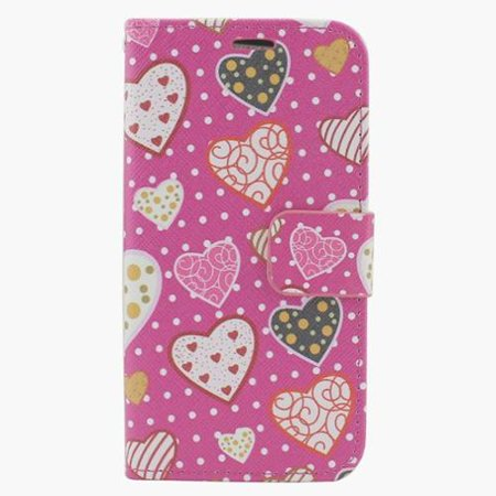 Insten Hearts Leather Wallet Case with Photo Display & Card Slot For iPhone 6s Plus / 6 Plus -