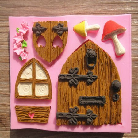 On Clearance 3D Silicone Fairy House Door Cake Molds for Baking Fondant Chocolate Sugarcraft Decor (Random Color)