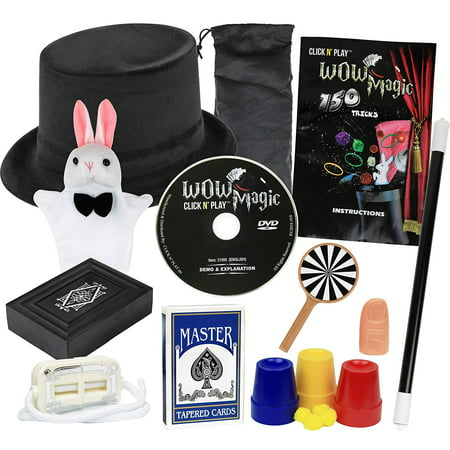 Click N' Play Rabbit And Hat Magic Trick Set For Kids, Over 150 Tricks, Manual and DVD Tutorial - Magic Hat With Rabbit