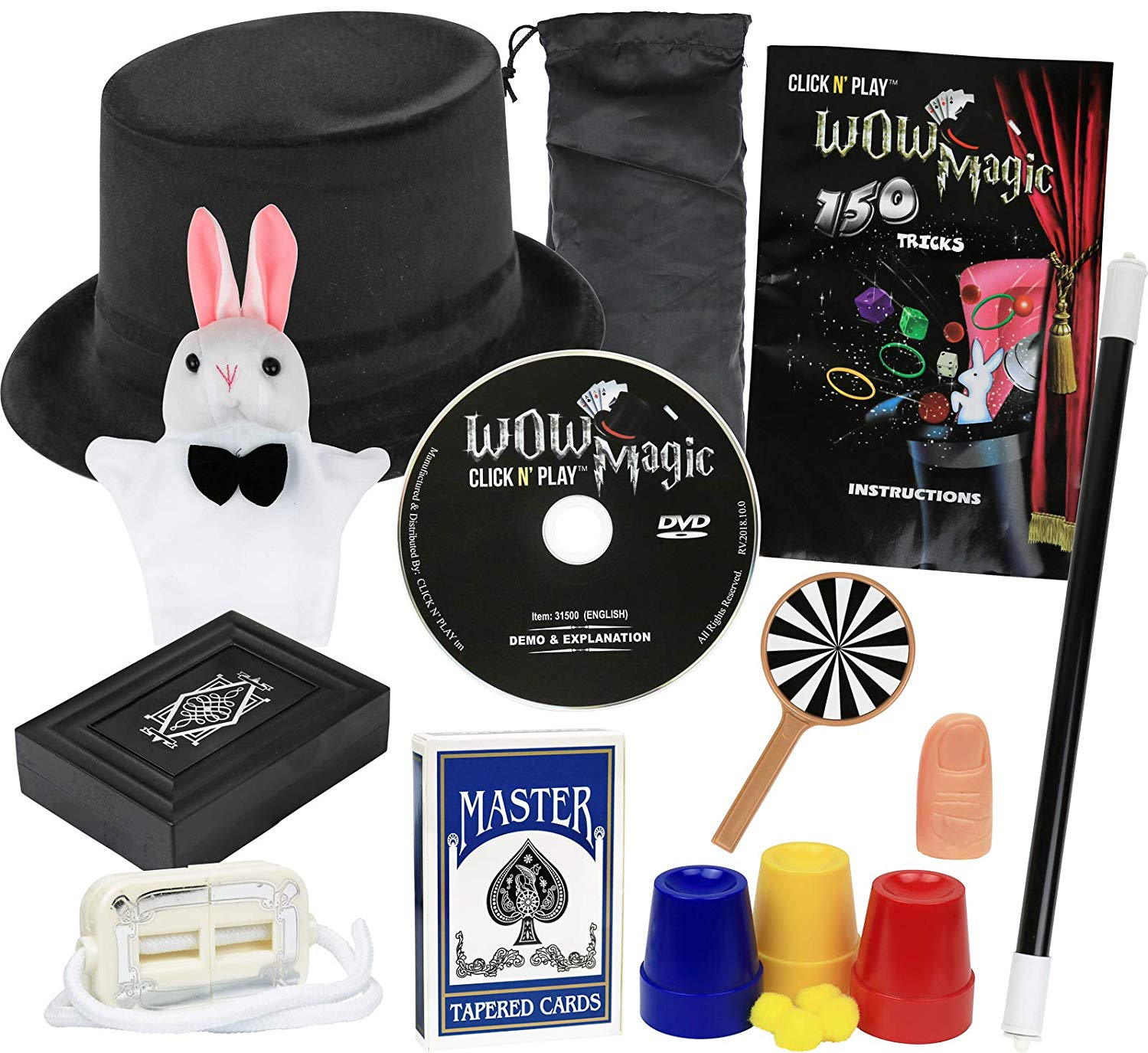 Click N' Play Rabbit And Hat Magic Trick Set For Kids, Over 150 Tricks, Manual and DVD Tutorial