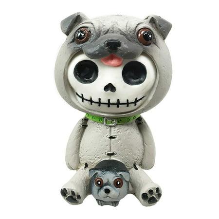 FurryBones Pugsley Grey Pug Costume Skeleton Monster Sit Up Ornament Figurine, This super cute Furrybones exclusive collectible measures at 3