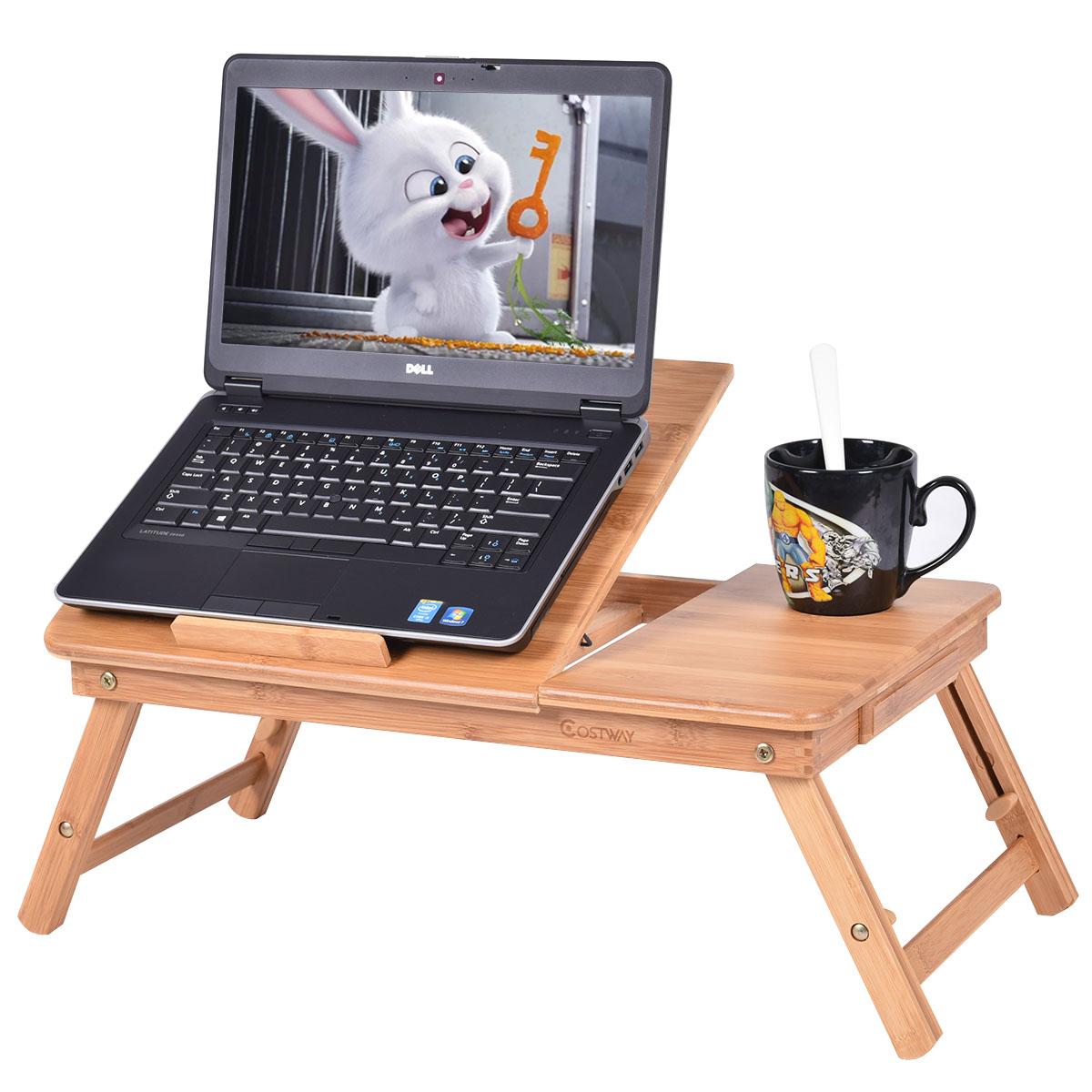Costway Portable Bamboo Laptop Desk Table Folding