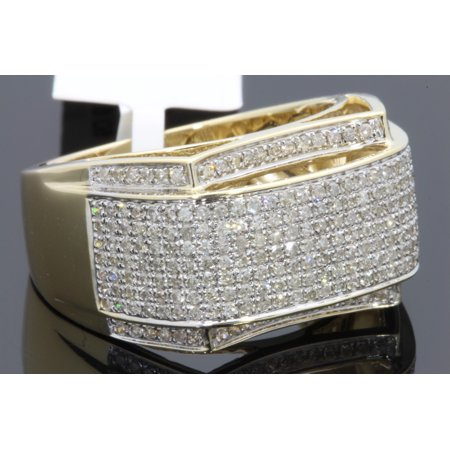 Mens 10k Gold Personalized Ring (10K YELLOW GOLD 1.14 CARAT MENS REAL DIAMOND ENGAGEMENT WEDDING PINKY RING BAND )