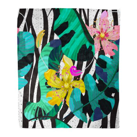 ASHLEIGH Throw Blanket Warm Cozy Print Flannel Summer Tropical Flowers Banana Leaves and Zebra Lines Bright Pink Yellow Green Comfortable Soft for Bed Sofa and Couch 50x60 Inches (Zebra Print Cozy Cover)