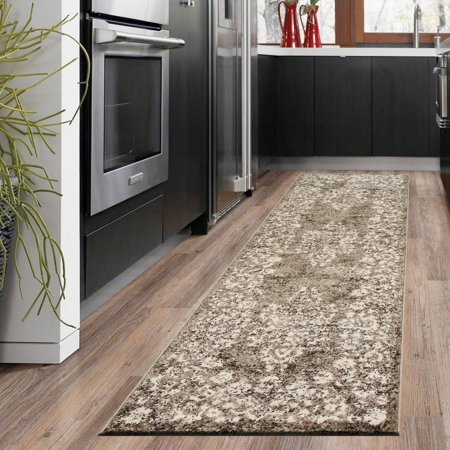 LR Home Infinity Cream Brown Delicate Floral Border Garland Victorian Medallion Distressed Indoor Contemporary Runner Rug - 2 ft. 1 in. x 7 ft. 5 in.