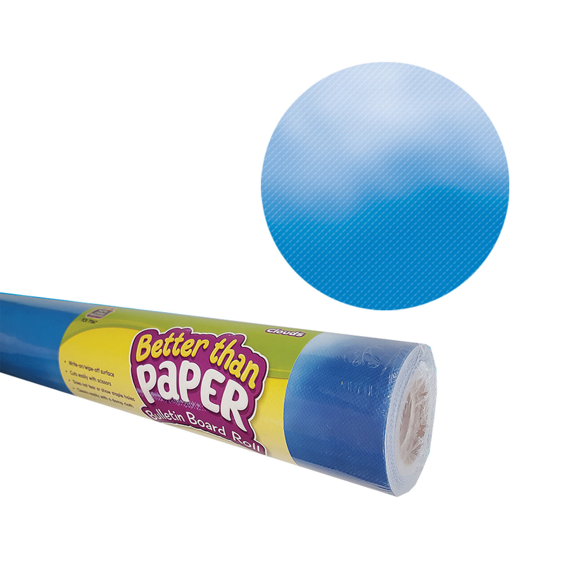 Better Than Paper Bulletin Board Roll, 4' x 12', Clouds, 4 Rolls