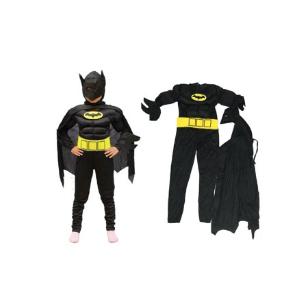 Boy's Dark Bat Muscle Super Hero Halloween Costume 3 Piece Set
