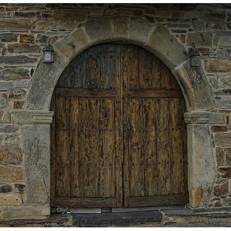 Halloween Cemetery Archway Entrance (canvas print entrance double doors archway bare wood exit arch stretched canvas 10 x)