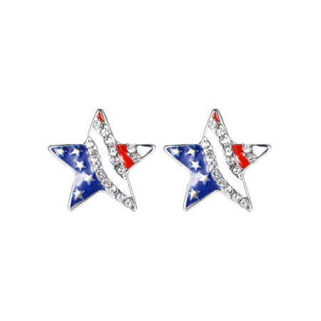 Lux Accessories Red White Blue American Flag Star Crystal Rhinestone Earrings ()