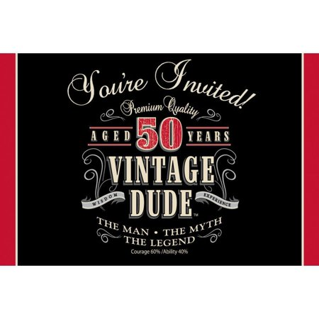 Creative Converting Vintage Dude 50th Birthday Invitations, 8 ct