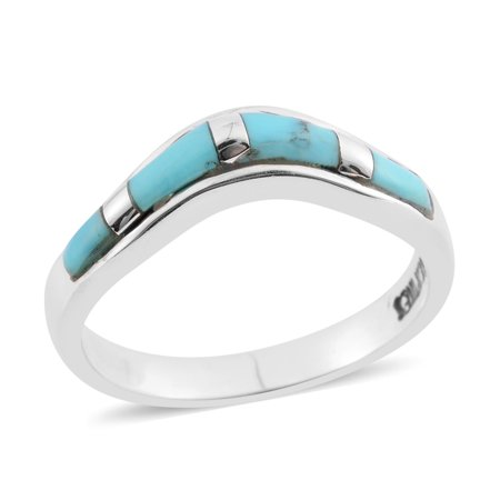 Jewelry Silver Turquoise Ring (925 Sterling Silver Kingsman Turquoise Southwest Jewelry Statement Band Ring for Women)