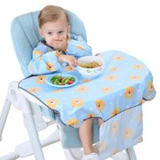 Akoyovwerve Baby Long Sleeve Bib Set One-Piece Baby Bib Coverall With Table Cloth
