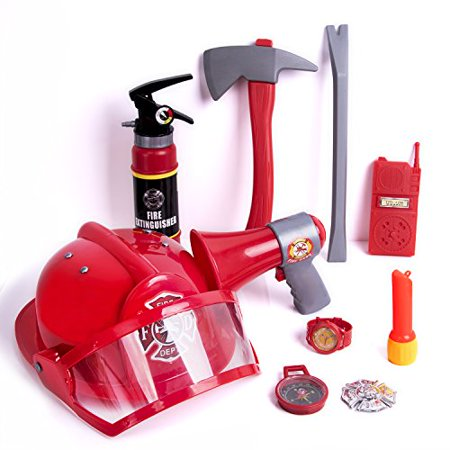 Fireman Gear Firefighter Costume Role Play Toy Set for Kids with Helmet, Megaphones, Extinguisher, Flashlight and Accessories 10 PCs F-177