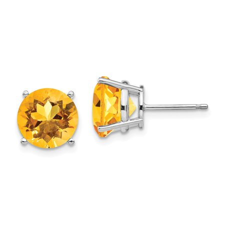 14K White Gold Earring Stud Women'S Citrine Center Stone Mounting Round Yellow 9 mm