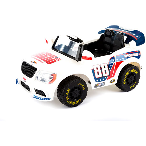 Image of NASCAR Dale Earnhardt, Jr. Convertible Car 12-Volt Battery-Powered Ride-On, White