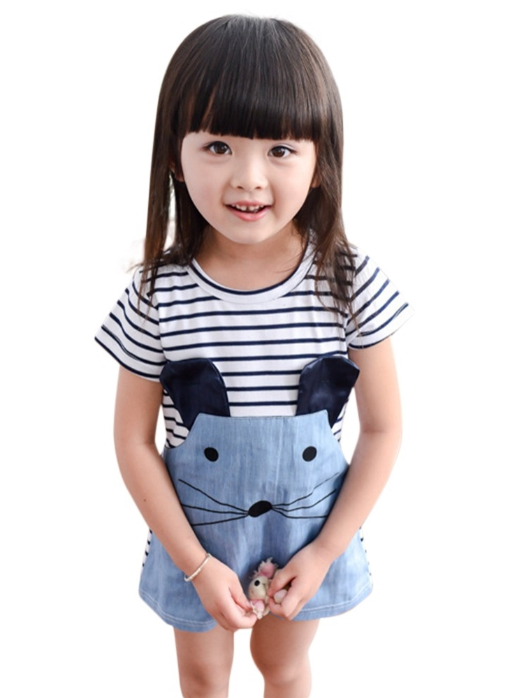 Kids Baby Girl Casual Spring Summer Cartoon Mouse Print Striped Denim Dress
