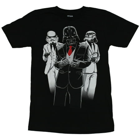 Star Wars Mens T-Shirt - Nice Suited Vader and Stormtroopers Image