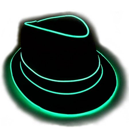 GlowCity Portable & Brightest Light Up Party Style Flashing Fedora Hat - Aqua
