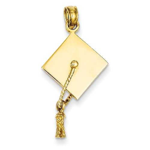 14k Yellow Gold Solid Polished 3-Dimensional Graduation Cap Pendant