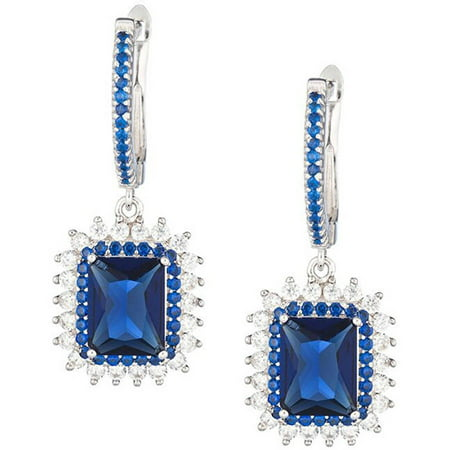 Sterling Silver Jewelry, Clear Cubic Zirconia (CZ) and Sapphire Blue Swarovski Crystal Rectangular Lever Back Earrings, Designer Drop Dangle 925 Sapphire Swarovski Crystal Band