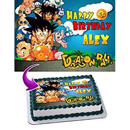Dragon Ball Bulma (Dragon Ball Goku krillin Bulma piccolo Edible Image Cake Topper Personalized Icing Sugar Paper A4 Sheet Edible Frosting Photo Cake 1/4 Edible Image for)