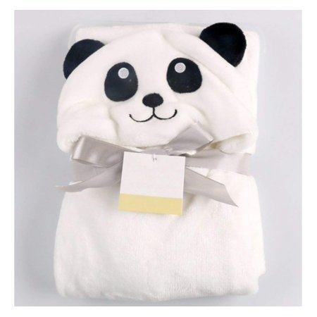 Ultra Soft Plush Baby Blanket Bath Towel with Hood, White Panda by Baby Classic Extra Plush Hooded Towel