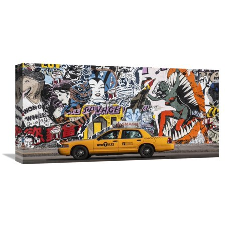 Global Gallery Michel Setboun,'Taxi and mural painting in Soho, NYC' Stretched Canvas Artwork (Mural Gallery)