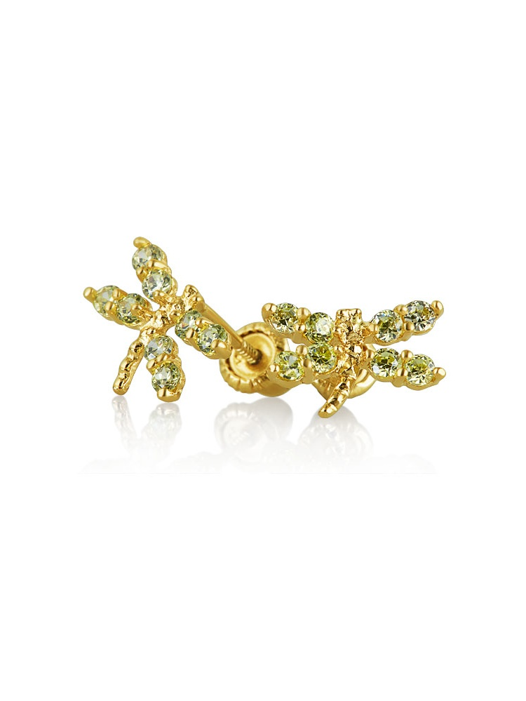 14k Yellow Gold Butterfly CZ Stud Earrings with Screwback