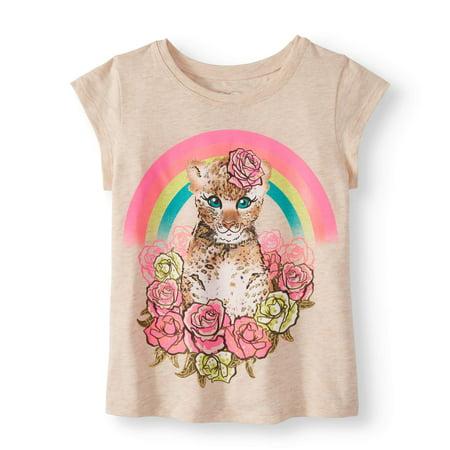 5772562a2 365 Kids From Garanimals - Little Girls' 4-8 Short Sleeve Graphic T-Shirt -  Walmart.com