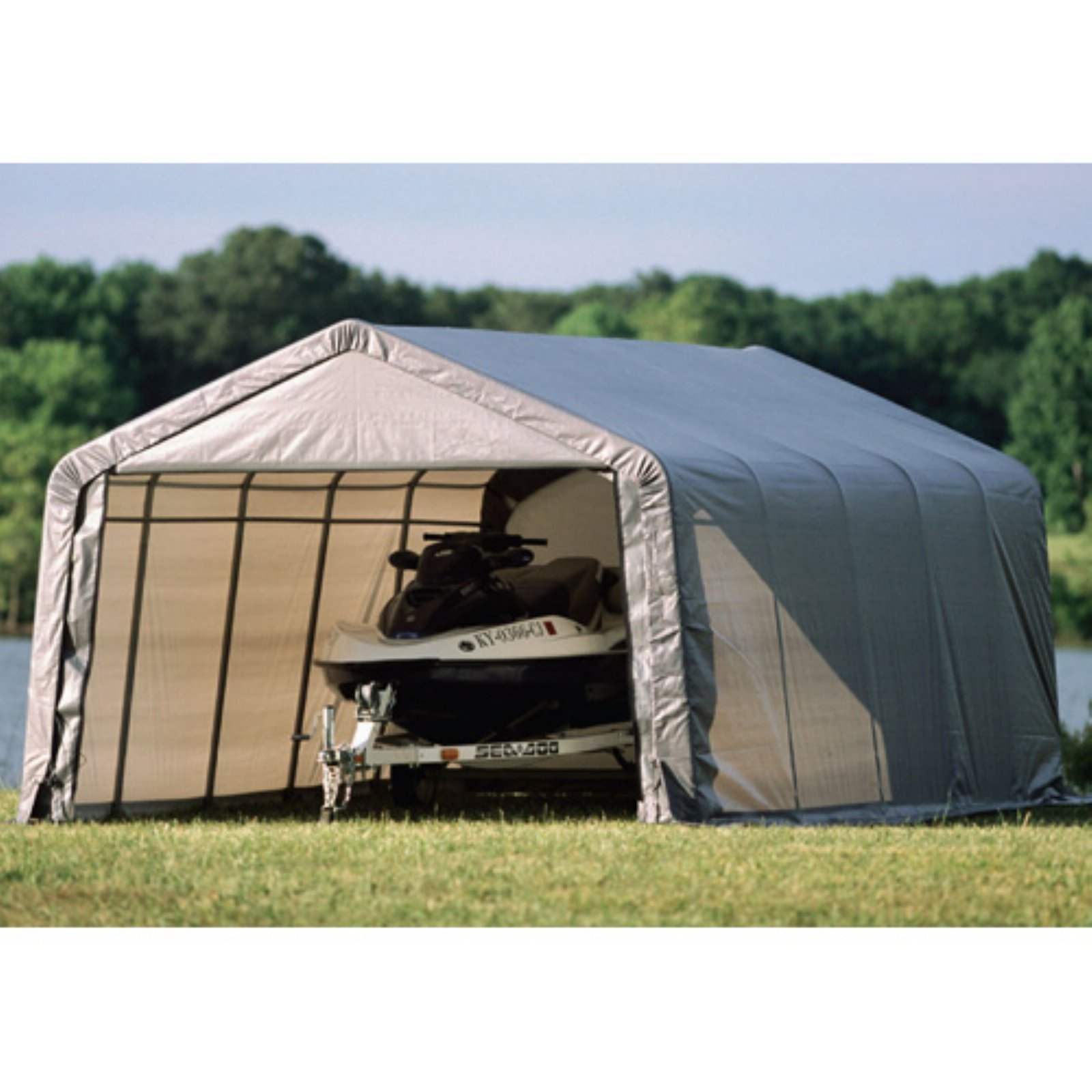 Shelterlogic 12' x 20' x 8' Peak Style Shelter, Green