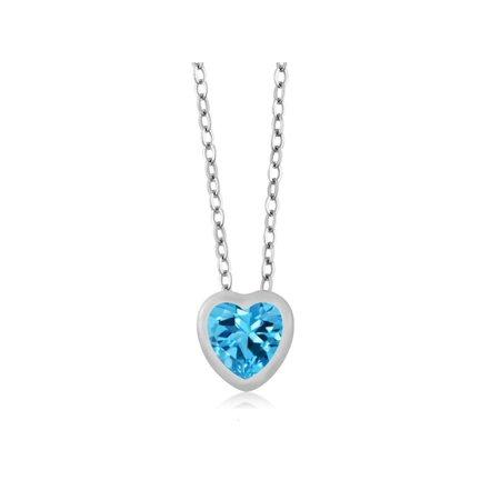 1.00 Ct Heart Shape Swiss Blue Topaz 10k White Gold Pendant