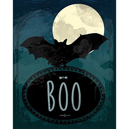 Boo Print Bats Flying Picture Graveyard Spider Owl Tree Hands Sunset Pumpkin Background Halloween Decoration Wall Hanging Seasonal Poster](Creepy Background Music For Halloween)
