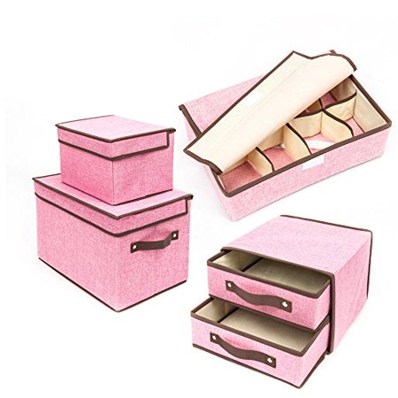 Garment Storage Boxes - GHP Set of 4 Pink Non-Woven Fabric Folding Collapsible Garment Clothes Storage Boxes