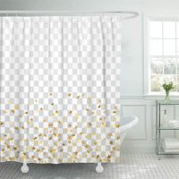 PKNMT Gold Stars Falling Confetti White Golden Abstract Christmas New Year Holiday Bathroom Shower Curtains 60x72 inch