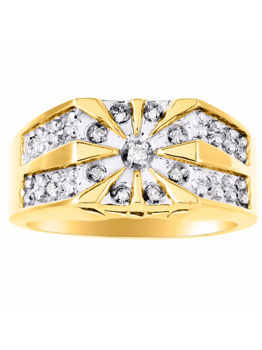 Details about  /0.25 ct Round Simulated Diamond Men/'s Unique Initial Ring 14k Yellow Gold Plated