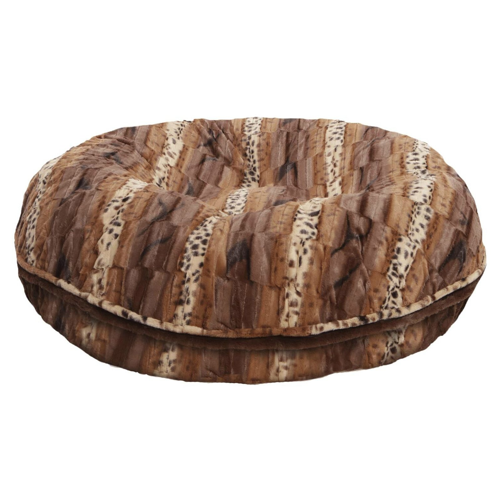 Bessie and Barnie Extra Plush Faux Fur Textured Stripe Bagel Dog and Pet Bed