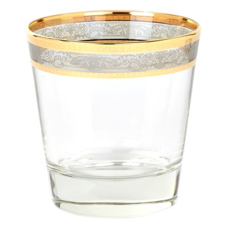 Lorren Home Trends Melania Double Old Fashion 10 Oz. Glass Cocktail Glasses (Set of 6) Smoke Double Old Fashioned