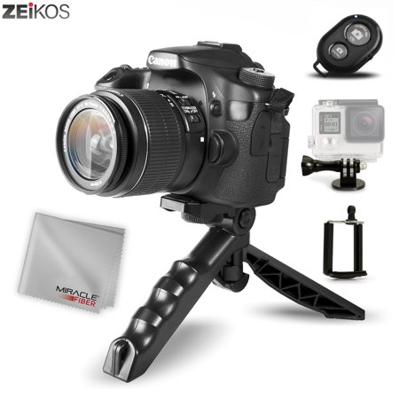 Zeikos Mini Tripod Tabletop Stand w/Soft Pistol Grip Set, Comes with Bluetooth Remote Control Camera Shutter, Smartphone - GoPro Mount, and Miracle Fiber Cloth …