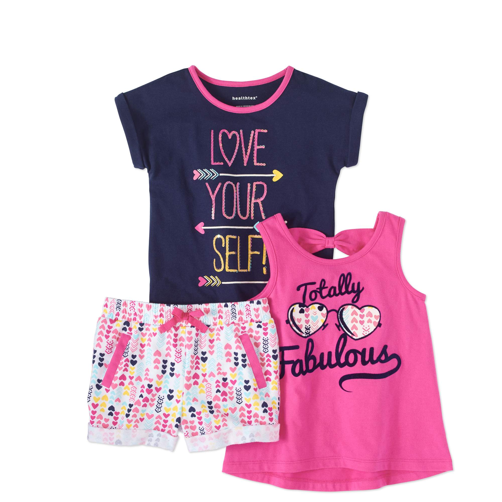 Healthtex Toddler Girl T-shirt, Back-Bow Tank Top & Shorts, 3-pc Outfit Set