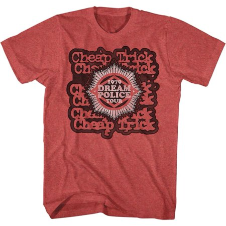 Cheap Trick Dream Police Tour Red Heather Adult Front/Back T-Shirt Tee - image 3 de 3