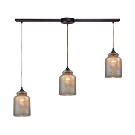 ELK Lighting Illuminessence 3-Light Pendant in Oil Rubbed Bronze with Textured Gray Dichroic Glass